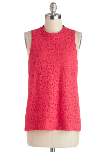 Island Date Top - Chiffon, Sheer, Woven, Mid-length, Pink, Solid, Exposed zipper, Lace, Sleeveless, Pink, Sleeveless, Lace