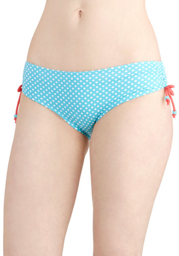 Spotted on the Sand Swimsuit Bottom - Blue, Polka Dots, Beach/Resort, Summer, Good, Knit, White, Ruching