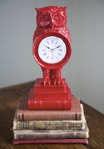 Time to Fly Clock - Multi, Red, Orange, Yellow, Blue, Dorm Decor, Owls, Critters, Boho