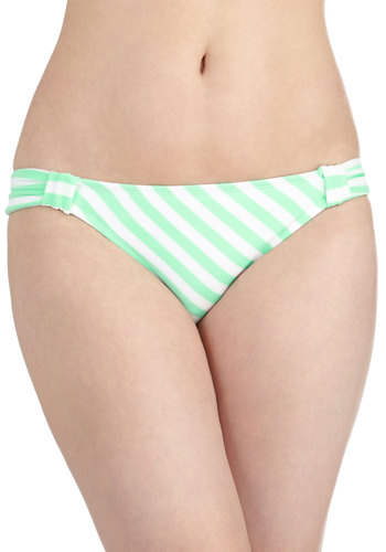 Swim to My Lou Swimsuit Bottom - Knit, White, Stripes, Ruching, Beach/Resort, Mint, Summer, Pastel