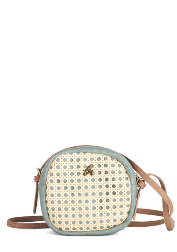 Market Moseying Bag by Nice Things - Mint, Solid, Cutout, International Designer, Tan / Cream, Better, Faux Leather, Cream, Spring