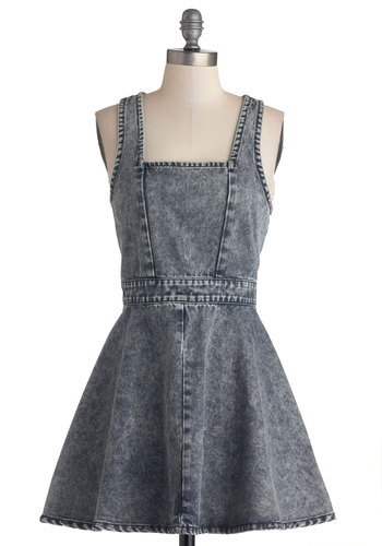 Riff You Say So Dress by Mink Pink - Blue, Short, Blue, Solid, Cutout, Casual, Fit & Flare, Tank top (2 thick straps), Better, Exposed zipper, Spring, Denim, 90s