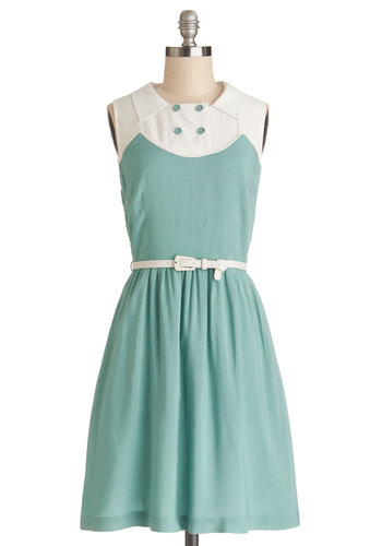 Boot Scootin' Cutie Dress by Myrtlewood - Mint, White, Belted, Casual, A-line, Sleeveless, Better, Buttons, Exclusives, Private Label, Collared, Vintage Inspired, 60s, Top Rated, Mid-length
