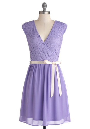 Champagne at Midnight Dress in Lavender - Purple, Solid, Lace, Belted, Wedding, Bridesmaid, A-line, Cap Sleeves, V Neck, Woven, Variation, Spring, Prom, Mid-length, Lace, Special Occasion, Best Seller, Party