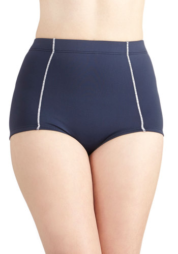 Anchors Aweigh Swimsuit Bottom by Seafolly - Knit, Blue, White, Solid, Trim, Beach/Resort, Nautical, Rockabilly, Pinup, Vintage Inspired, High Waist, Summer, Pockets, Contour, D-Plus, Americana