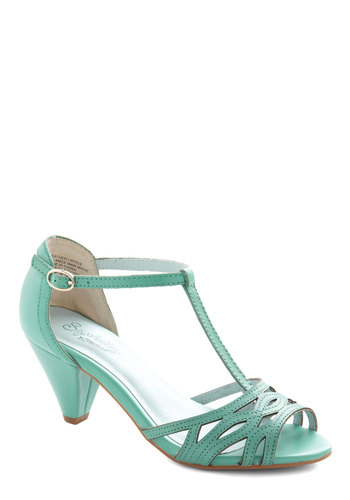 Everybody Dance Heel in Aqua by Seychelles - Solid, Daytime Party, Vintage Inspired, 40s, Mid, Better, T-Strap, Leather, Blue, Bridesmaid, Pastel, Variation