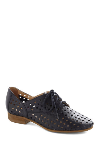 Scamp Flat in Navy by Seychelles - Blue, Solid, Cutout, Menswear Inspired, Low, Best, Lace Up, Leather, Variation
