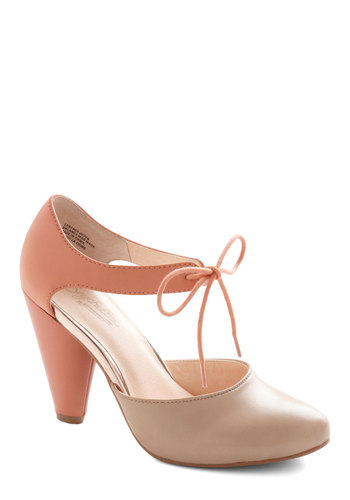 Close Your Eyes Heel in Coral by Seychelles - Tan / Cream, Special Occasion, Prom, Wedding, Party, Work, Daytime Party, Graduation, Bridesmaid, Bride, Colorblocking, High, Best, Lace Up, Leather, Variation, Coral, 60s