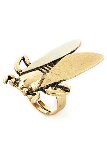 I'll Beetle There Ring - Print with Animals, Quirky, Gold, Good