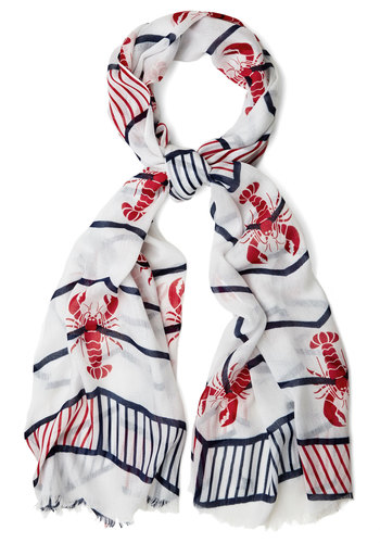 Lobster in Some Style Scarf - White, Red, Blue, Stripes, Print with Animals, Casual, Daytime Party, Beach/Resort, Nautical, Better, Cotton, Sheer, Woven
