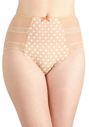 Homemade Malt Undies in Beige - Sheer, Tan, White, Polka Dots, Pinup, Vintage Inspired, 50s, High Waist, Bows, Lace, Lace