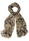Here I Glam Scarf - Tan, Black, Novelty Print, Casual, Better, Woven, Statement