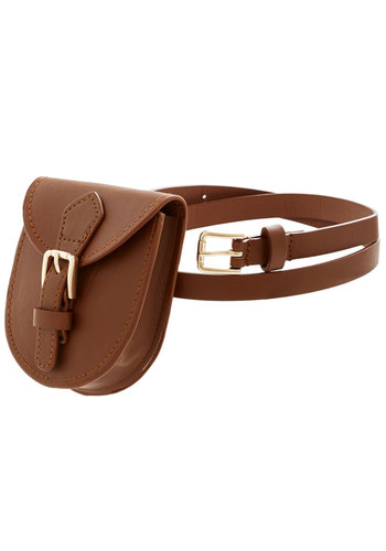 Portable Pouch Belt in Brown - Faux Leather, Brown, Solid, Buckles, Festival, Better, Variation, Brown