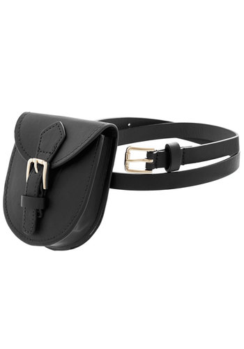 Portable Pouch Belt in Black - Faux Leather, Black, Silver, Solid, Buckles, Casual, Festival, Better, Variation