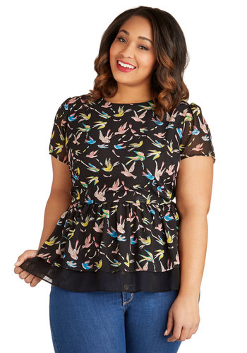 Manor of Speaking Top in Birds - Plus Size - Black, Yellow, Green, Purple, Pink, Daytime Party, Peplum, Short Sleeves, Chiffon, Sheer, Woven, Print with Animals, Variation, Critters