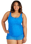 Azure as the Sun One Piece in Blue - Plus Size by Becca Etc - Blue, Beach/Resort, Summer, Knit, Solid, Lace, Lace
