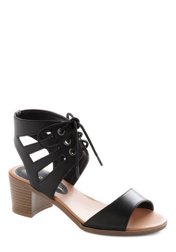 Sculpture Garden Party Heel - Mid, Faux Leather, Black, Solid, Cutout, Party, Good, Lace Up, Chunky heel, Strappy, Daytime Party, Summer