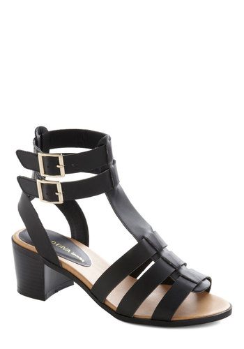 Design Thesis Heel - Mid, Faux Leather, Black, Solid, Buckles, Party, Good, Chunky heel, Strappy, Daytime Party, Beach/Resort