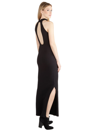 Saturday Sophisticate Dress by Motel - Knit, Long, Black, Solid, Backless, Party, Maxi, Sleeveless, Better, Cutout, Vintage Inspired, 90s, Girls Night Out