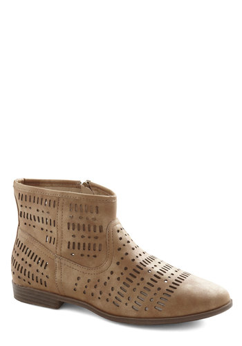 Night and Day Trip Bootie in Sand by Restricted - Low, Faux Leather, Tan, Solid, Cutout, Good, Variation, Festival, Boho