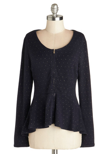 Seeing Starlight Sweater - Better, Blue, Long Sleeve, Knit, Mid-length, Blue, Peplum, Scoop, Print