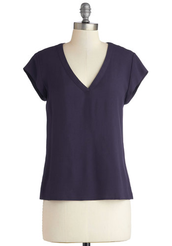 First Band Mate Top - Good, Blue, Short Sleeve, Woven, Mid-length, Blue, Solid, Casual, Short Sleeves, Minimal, V Neck