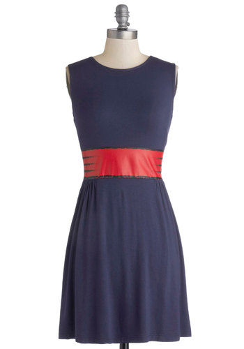 Clever the Optimist Dress - Knit, Short, Blue, Red, Casual, A-line, Sleeveless, Better, Crew, Print, Exclusives