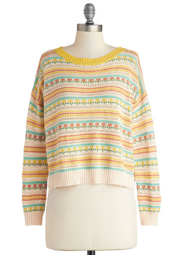 Posy Disposition Sweater - Knit, Short, Multi, Yellow, Stripes, Floral, Knitted, Long Sleeve, Spring, Better, Multi, Long Sleeve, Tan / Cream, Casual