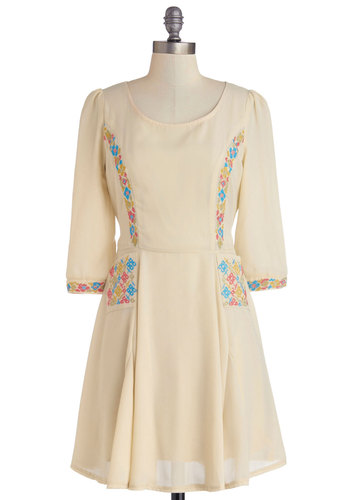 Pastel Us a Tale Dress - Sheer, Woven, Mid-length, Cream, Multi, Embroidery, Casual, Boho, A-line, 3/4 Sleeve, Better, Scoop, Pockets, Folk Art, Spring, Pastel