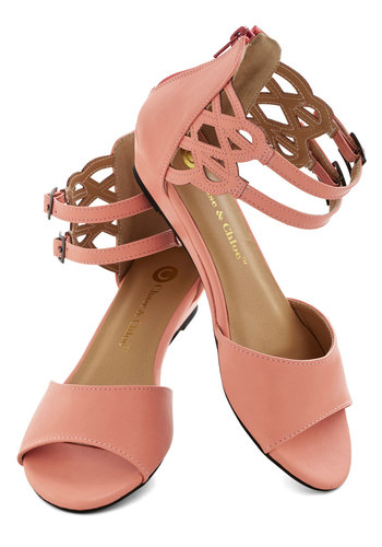 Sarasota Fountain Sandal in Sherbet - Low, Faux Leather, Pink, Solid, Cutout, Summer, Good, Strappy, Daytime Party, Variation, Beach/Resort