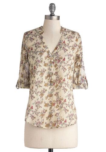 Wildflower Hour Top - Cotton, Sheer, Woven, Mid-length, Cream, Multi, Floral, Buttons, Casual, 3/4 Sleeve, V Neck, Multi, Tab Sleeve
