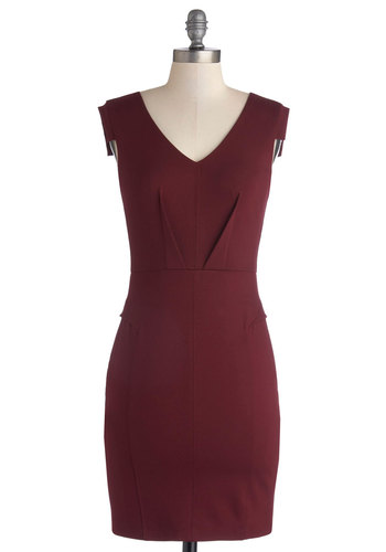Change with the Clock Dress in Burgundy - Knit, Mid-length, Red, Solid, Party, Cocktail, Sheath / Shift, Sleeveless, Variation, V Neck
