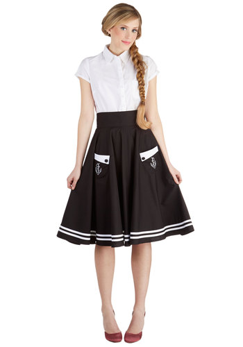 Aweigh We Go Skirt - Black, Solid, Buttons, Embroidery, Pockets, Daytime Party, Nautical, Pinup, Rockabilly, Vintage Inspired, 50s, Cotton, Black, Spring, Summer, Full, Long