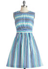 Too Much Fun Dress in Blue Sea Stripes by Emily and Fin - Stripes, Pockets, Casual, A-line, Sleeveless, Better, Cotton, Woven, Mid-length, Blue, Variation, Work, Spring, Nautical, Sundress
