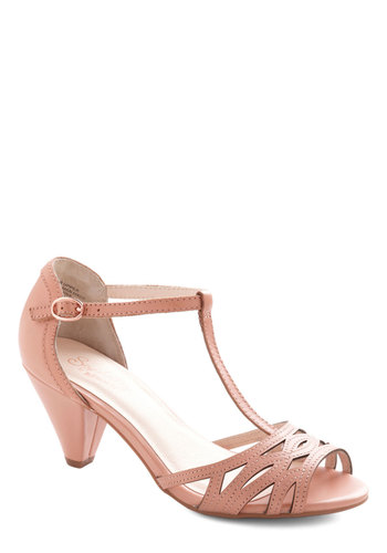 Everybody Dance Heel in Petunia by Seychelles - Solid, Cutout, Prom, Wedding, Party, Daytime Party, Graduation, Bridesmaid, Bride, Mid, Better, Leather, Pink, Vintage Inspired, 40s, Pastel, T-Strap, Variation