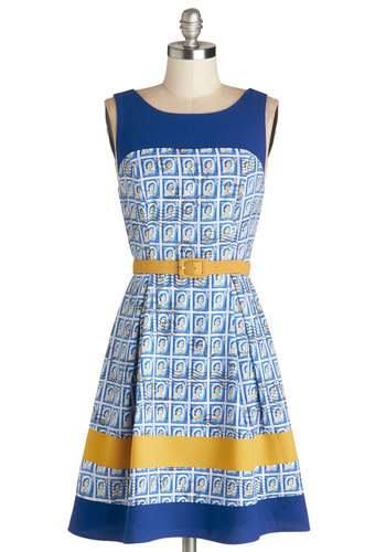 Philatelic Pretty Dress by Eva Franco - Blue, Multi, Casual, A-line, Sleeveless, Best, Mid-length, Chiffon, Woven, Yellow, Novelty Print, Belted, Vintage Inspired, 50s
