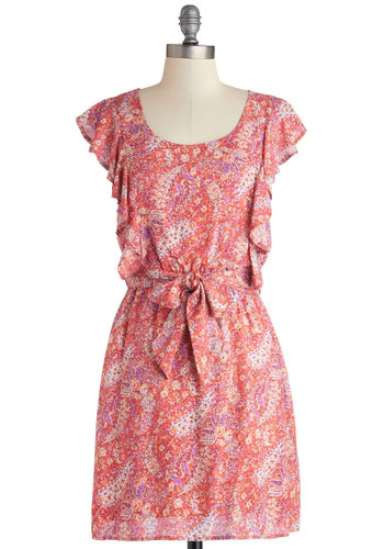 Primed to Garden Party Dress by Tulle Clothing - Multi, Paisley, Ruffles, Belted, Casual, A-line, Cap Sleeves, Better, Scoop, Woven, Short, Pink, Daytime Party, Spring, Sundress
