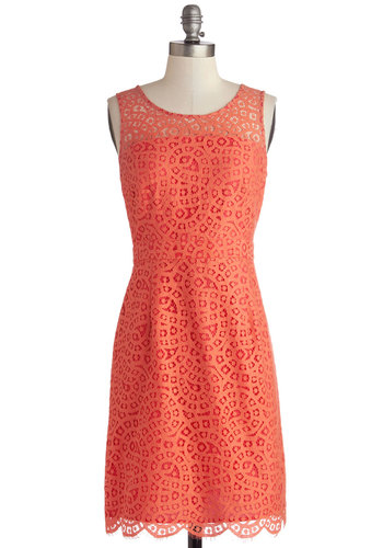 Guava Punch Dress - Coral, Wedding, Daytime Party, Bridesmaid, Sleeveless, Best, Scoop, Sheer, Woven, Mid-length, Exposed zipper, Scallops, Sheath / Shift, Spring, Lace