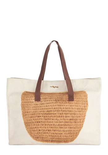 Bygone Beaches Bag by Nice Things - Cream, Brown, Tan / Cream, Beach/Resort, International Designer, Better, Woven, Novelty Print, Travel, Summer, Work, Boho, Safari, Urban, Social Placements