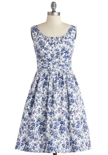 I Came, I Toile Dress - White, Floral, Daytime Party, A-line, Sleeveless, Better, Scoop, Blue, Cotton, Woven, Mid-length, Pockets, Spring