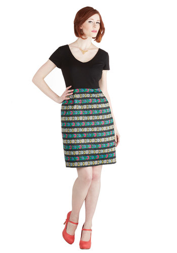 In Creative Company Dress - Multi, Stripes, Floral, Casual, Shift, Twofer, Short Sleeves, Exclusives, V Neck, Knit, Woven, Black, Pockets, Show On Featured Sale, Mid-length