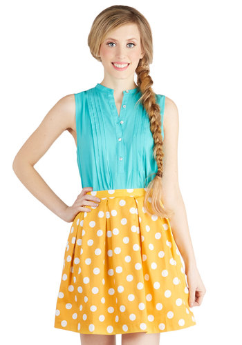 See You Round Skirt in Yellow - Yellow, Polka Dots, Pleats, Daytime Party, Cotton, Short, Spring, Summer, Exclusives, Ballerina / Tutu, Yellow