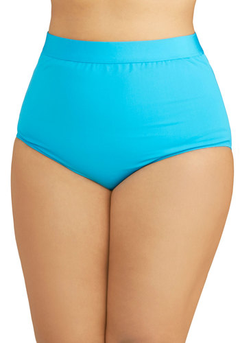 Seaside Serenity Swimsuit Bottom in Blue - Plus Size by Monif C - Blue, Beach/Resort, Summer, Knit, Solid, High Waist, Variation, Festival, Tankini, Underwire