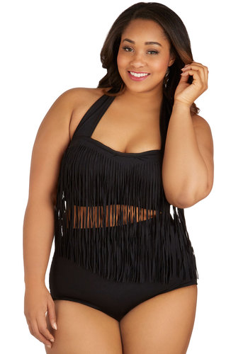 Seaside Serenity Fringed Swimsuit Top in Black - Plus Size by Monif C - Black, Fringed, Beach/Resort, Halter, Summer, Knit, Solid, Variation, Festival, High Waist, Tankini, Underwire