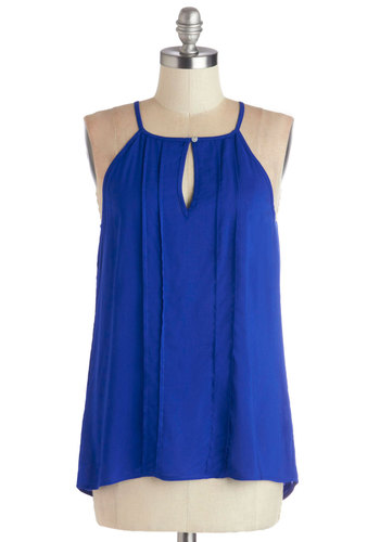 Style a Minute Top in Blue - Woven, Mid-length, Blue, Solid, Festival, Sleeveless, Summer, Good, Blue, Sleeveless, Casual, Boho