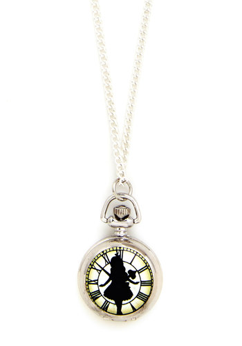 Smooth as Looking Glass Necklace - Black, Multi, Solid, Silver, Pocketwatch, Good