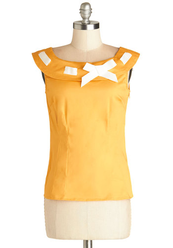 Miss Fetching Top by Bea & Dot - Private Label, Short, Cotton, Woven, Yellow, Solid, Bows, Daytime Party, Vintage Inspired, Darling, Sleeveless, Yellow, Sleeveless, White, 50s, Exclusives