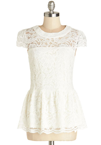 Entirely Elegant Top - Sheer, Woven, Mid-length, White, Solid, Lace, Daytime Party, French / Victorian, Darling, Peplum, Better, White, Short Sleeve, Cap Sleeves, Lace