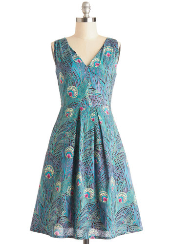 Spread Smiles Dress - Daytime Party, A-line, Better, Pleats, Sleeveless, V Neck, Cotton, Woven, Long, Multi, Blue, Purple, Animal Print, Pockets