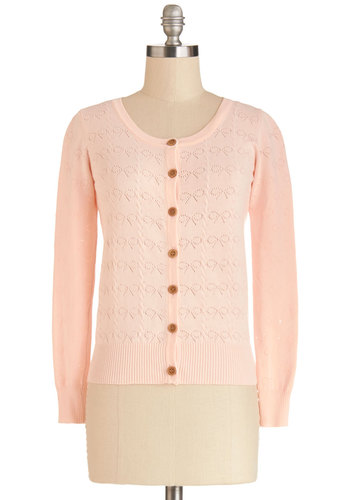 Doll Out Cardigan - Knit, Short, Solid, Buttons, Knitted, Pastel, Long Sleeve, Orange, Long Sleeve, Sheer, Pink, Darling, Sweetheart, Spring
